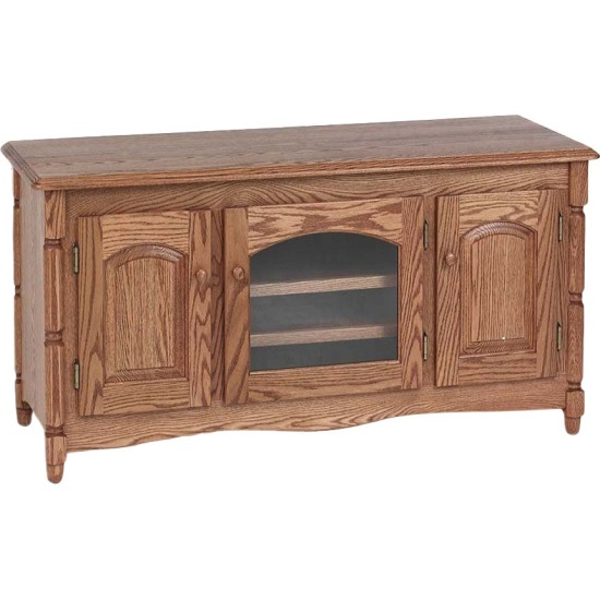 Country Style Solid Oak TV Stand w/Cabinet - 51