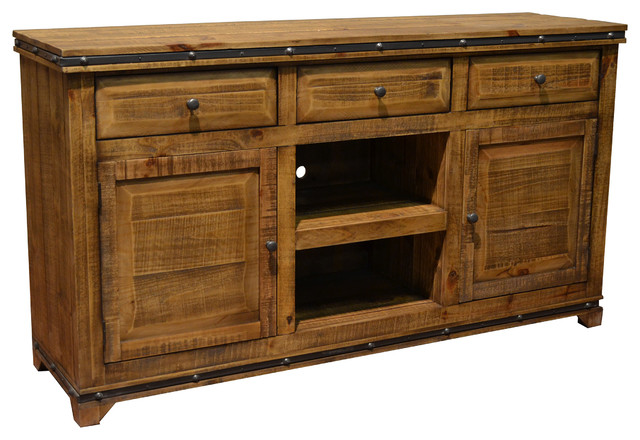 Addison Solid Wood TV Stand Media Console - Rustic - Entertainment
