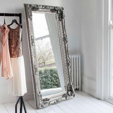 Carved Floor Standing Mirror - Silver - Oversized Leaner | Primrose