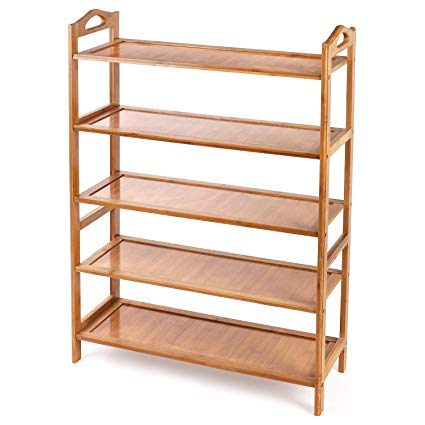 Amazon.com: HOMFA Bamboo Shoe Rack 5-Tier Entryway Shoe Shelf
