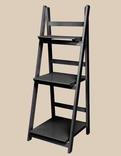 3 Tier Ladder Bookshelf Wood Ladders Standing Shelves Bookcase