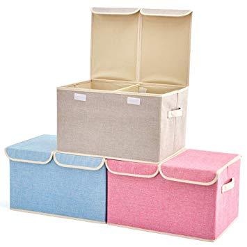 Amazon.com : Large Storage Boxes [3-Pack] EZOWare Large Linen Fabric