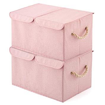 Amazon.com : EZOWare Large Storage Boxes [2-Pack] Large Linen Fabric