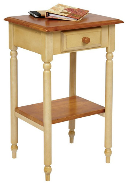 Office Star Country Cottage Telephone Table in Antique Yellow