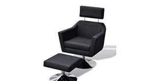 Amazon.com: K&A Company Tv Armchair Black Artificial Leather Chromed