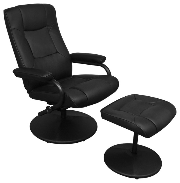 Black Artificial Leather TV Armchair With Foot Stool - Contemporary