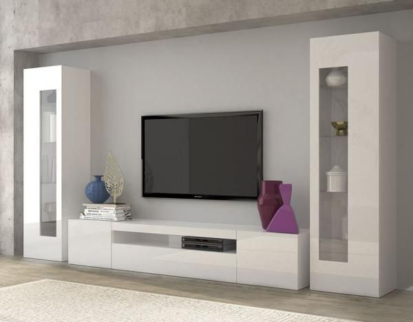 Daiquiri, modern TV cabinet and display units combination in white