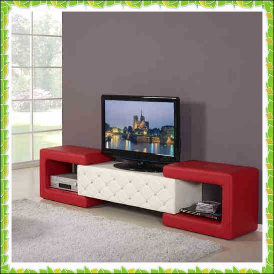 Functional apartment TV racks red white leather TV stands hot