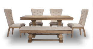 Riverdale 6 Piece Set with Upholstered Chairs & Storage Bench