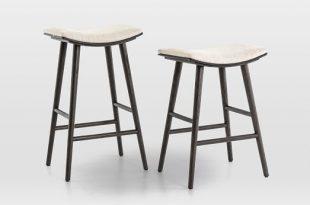 Oak Wood + Upholstered Saddle Bar + Counter Stools   west elm