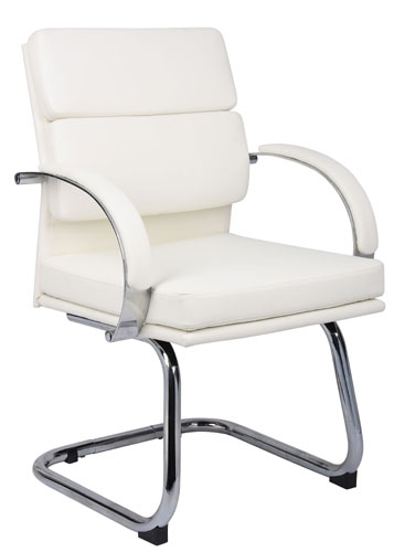 Boss White CaresoftPlus Visitors Chair B9409-WT @ Office Chairs Outlet