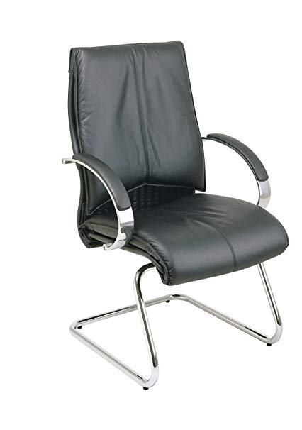 Amazon.com: Office Star Deluxe Mid Back Leather Visitors Chair with