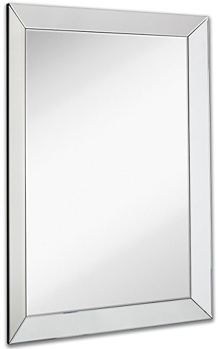 Amazon.com: Large Framed Wall Mirror with 3 Inch Angled Beveled