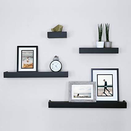 Amazon.com: Ballucci Modern Ledge Wall Shelves, Set of 4, Black