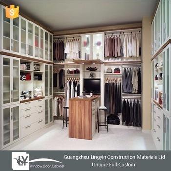 Walk In Bedroom Wall Wardrobe Design With Frosted Glass Door - Buy
