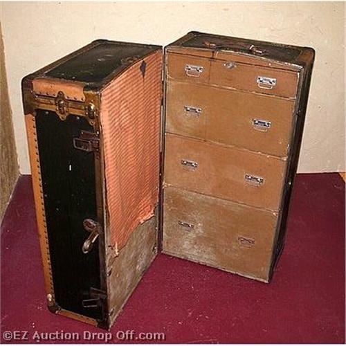 Antique Belber Steamer Trunk Wardrobe Chest #2303751