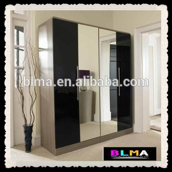 4 Doors Wardrobe With Mirror,Wardrobe With Sliding Mirror Doors