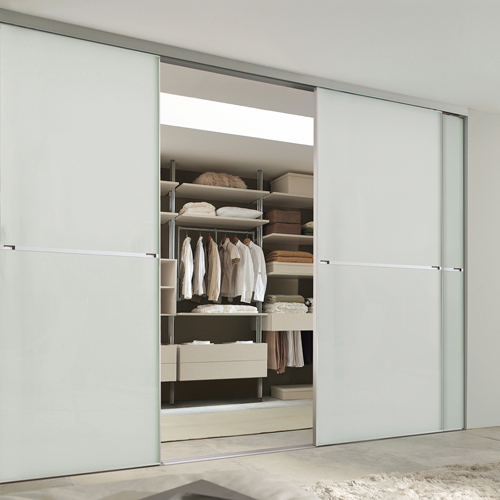 Minimalist 2 panel silver frame sliding wardrobe door with soft