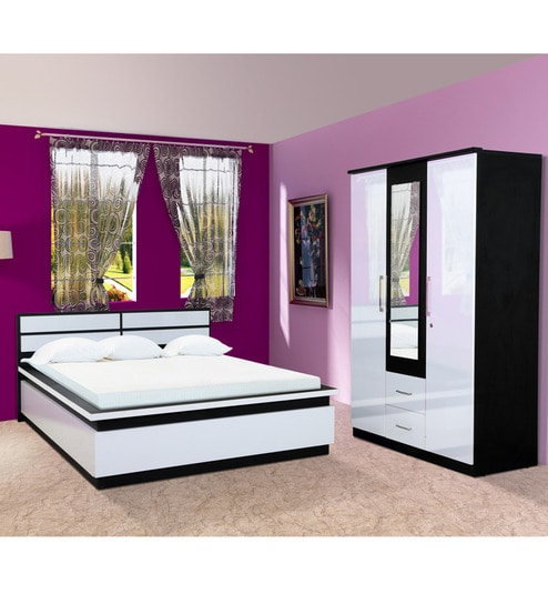 Pine Crest Enigma Bedroom Combo Set (3 Door Wardrobe & Bed) by Pine