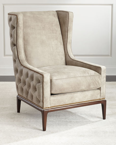 Ambella Idris Tufted-Back Leather Wing Chair | Neiman Marcus