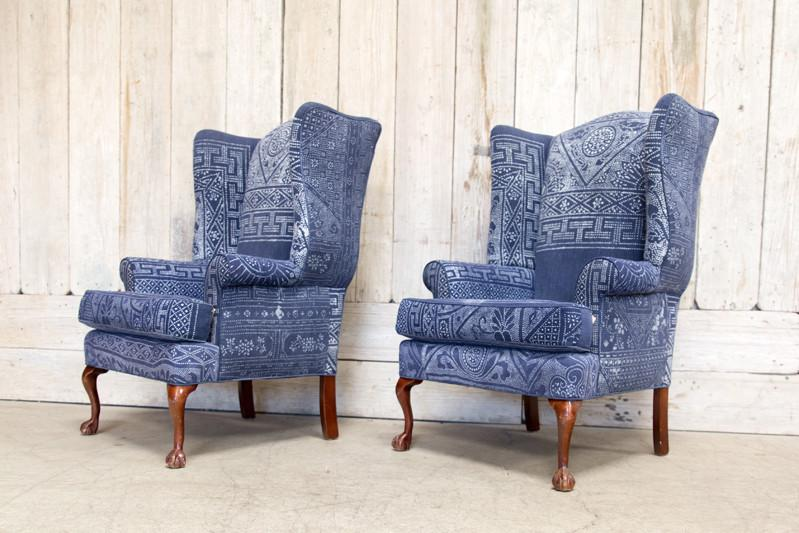 VINTAGE BATIK WING CHAIRS - BD Antiques