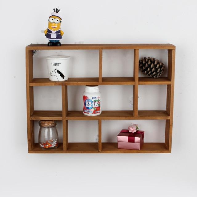 Wood Wall Holder Box 9 grids Wooden shelf Home Storage Holder Rack