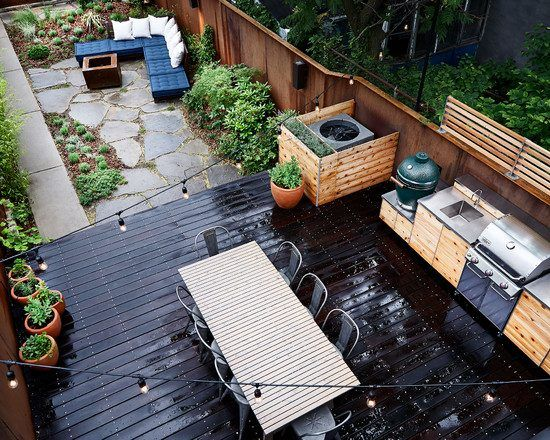 modern deck design wood natural stone kitchen and dining area