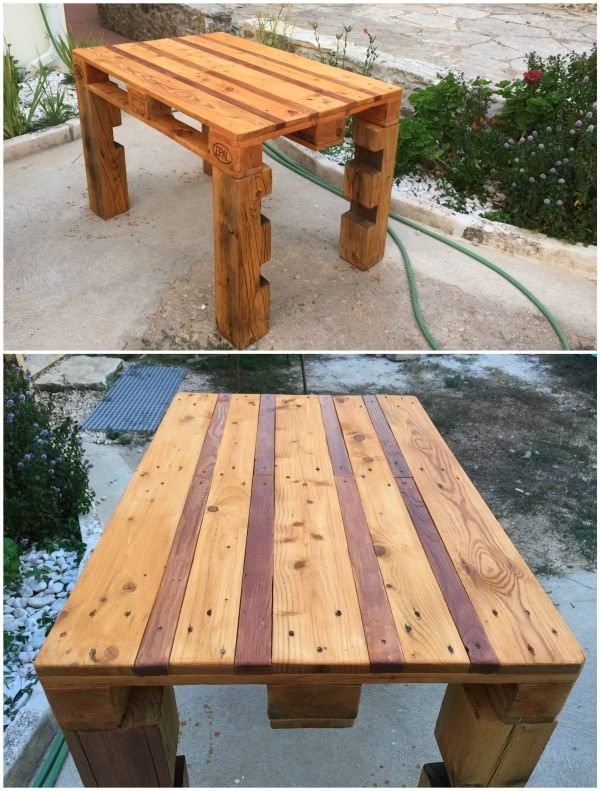 Outdoor pallet table made out of heavy weight EURO pallet. Darker