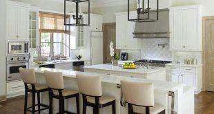 White kitchen○high chairs○long kitchen island | Kitchens | Kitchen