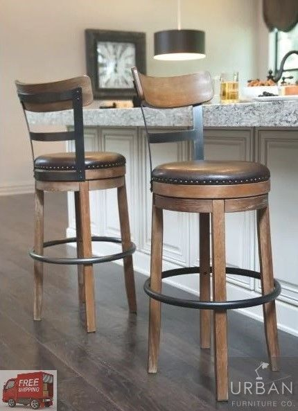 Bar Height Swivel Stool Back Tall Kitchen High Chair Wood Seat