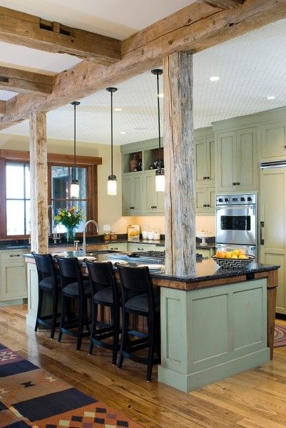 just love this modern country kitchen with exposed wood beams | For