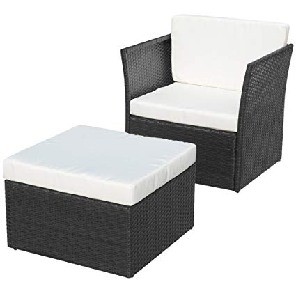 Amazon.com : Festnight 5 Pieces Patio Garden Poly Rattan Chair Set