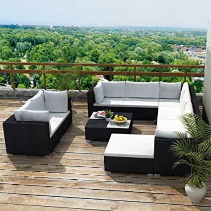 Amazon.com : 32 Piece Garden Sofa Set Chaise Lounge Chair Black Poly