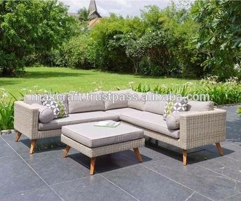 Patio Outdoor Wicker Rattan Garden Teak Solid Wooden Sofa Set Corner