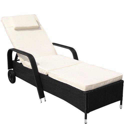 Miadomodo® Polyrattan Sun Lounger (ca. 210.5/78/33 cm) Recliner