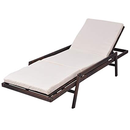 Amazon.com : Festnight Chaise Lounge Chair Poly Rattan Sun Lounger