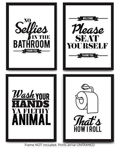 Amazon.com: Typography Bathroom UNFRAMED Wall Art & Pictures | Set