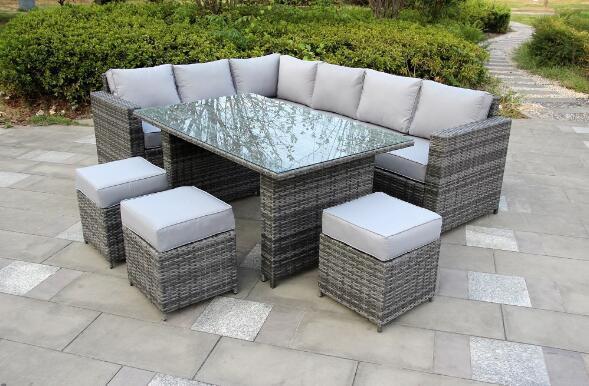 Yakoe® Grey 9 Seater Conservatory Dining set Rattan   Furniture Maxi