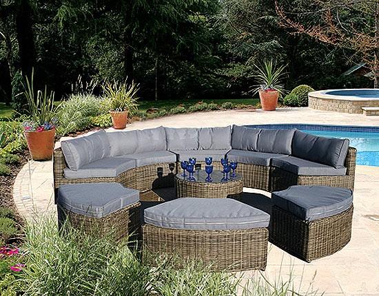 New Circular Outdoor Furniture Curved Modular Rattan Garden Set 9