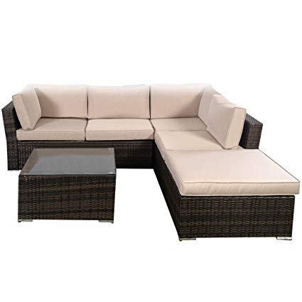 Amazon.com : Giantex 4pc Patio Sectional Furniture Pe Wicker Rattan