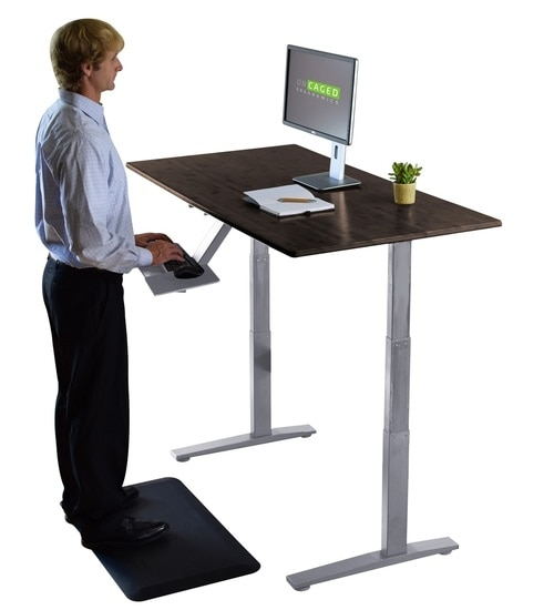 Bamboo electric powered standing office desk