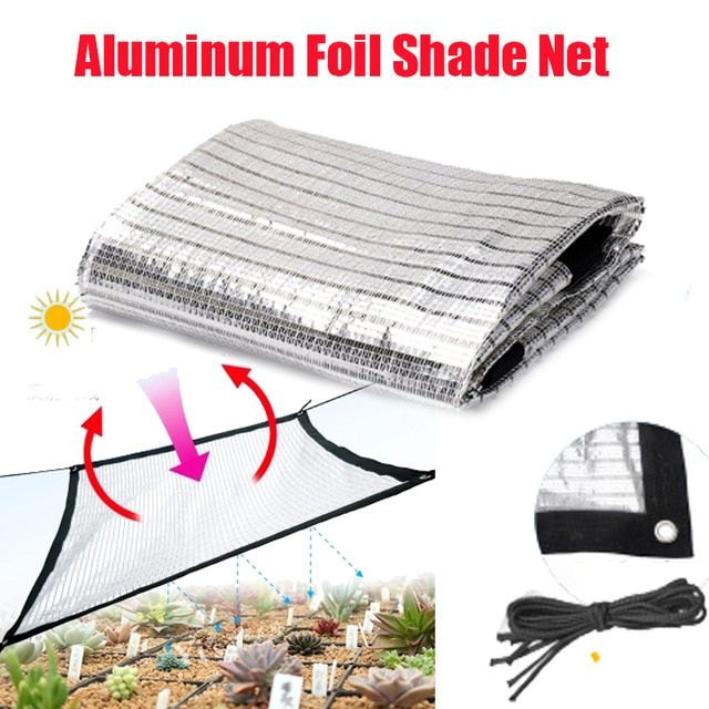 Reflective Aluminum Foil Shade Net Sunscreen Silver White Roof