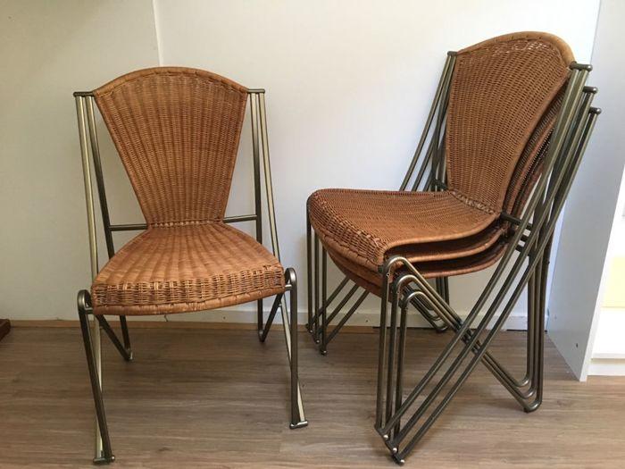 Oscar Tusquets Blanca for Aleph-Driade - 4 Abanica terrace chairs