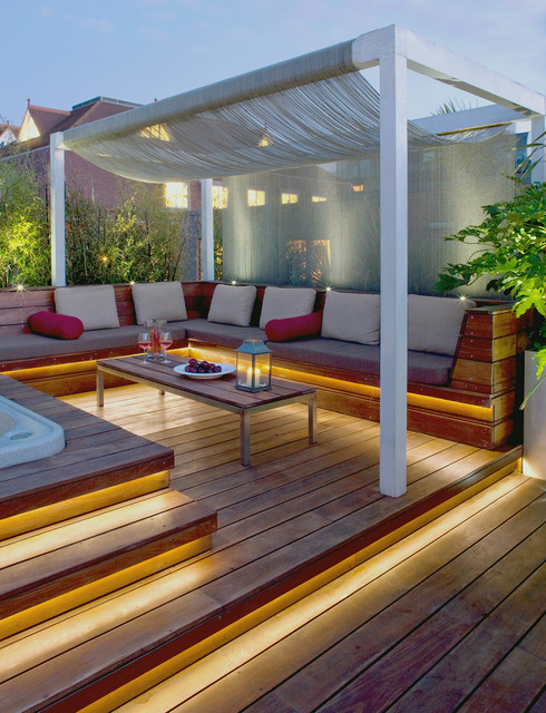 Terrace made of tropical wood