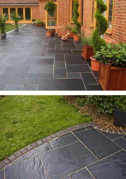 Blue-Black Slate Paving Slabs - Natural Patio Stone -New Grey Sawn