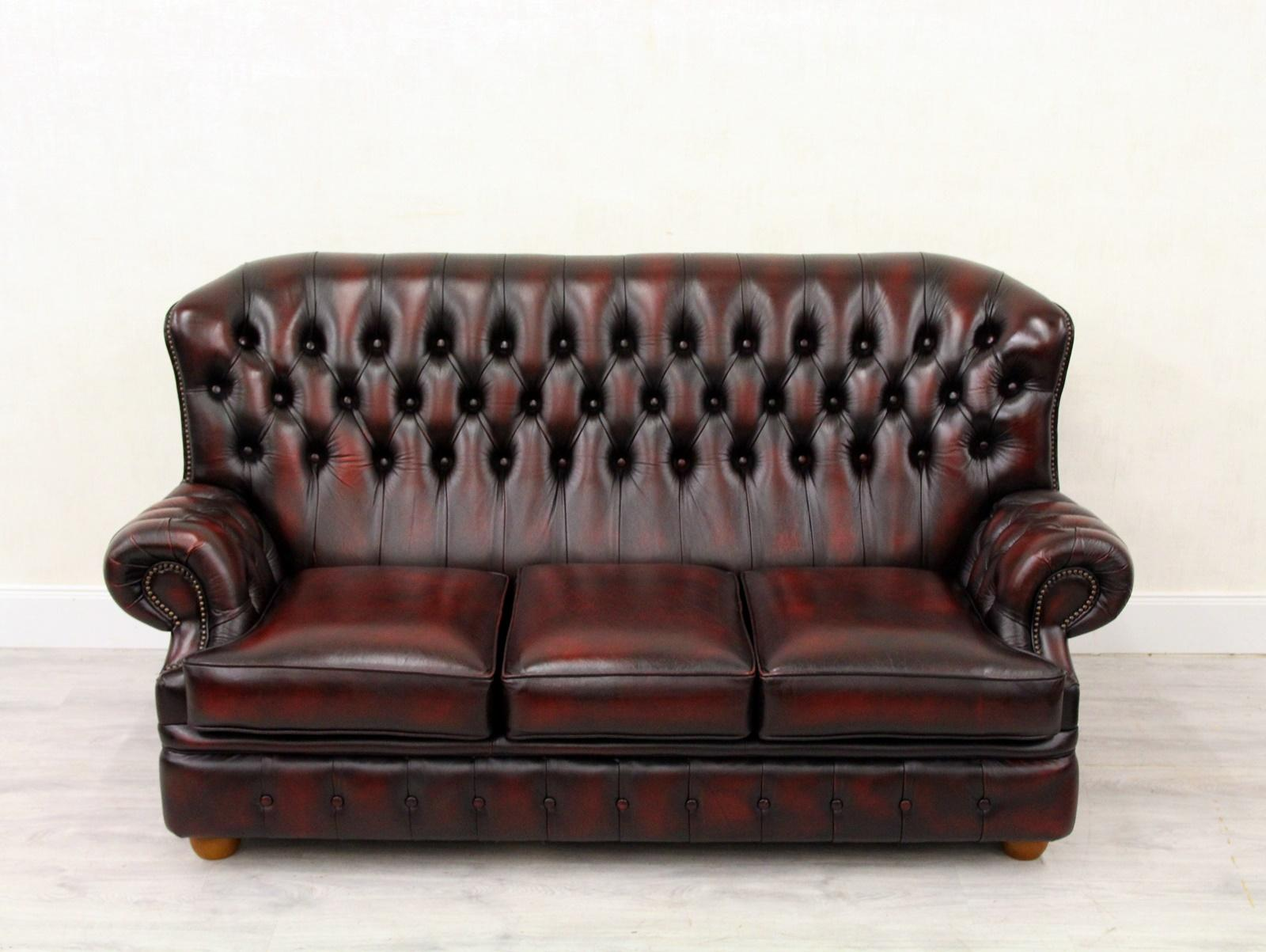 Chesterfield Sofa Armchair Leather Antique TV Armchair English
