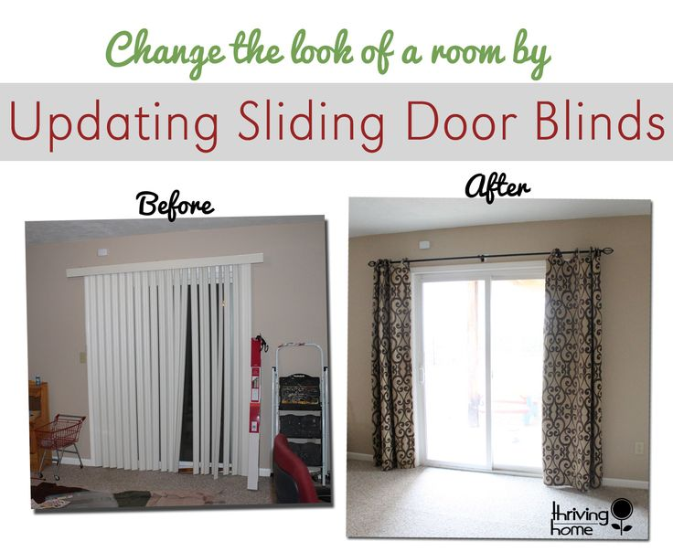 Super easy home update: replace those sliding blinds with a curtain