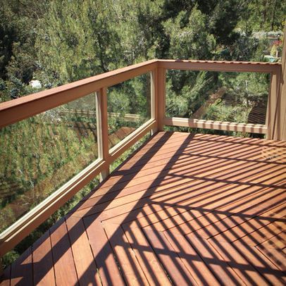 IPE Wood Balcony With Glass Railing Design Ideas, Pictures, Remodel