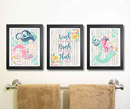 Amazon.com: Silly Goose Gifts Beautiful Mermaid Bathroom Wall Art