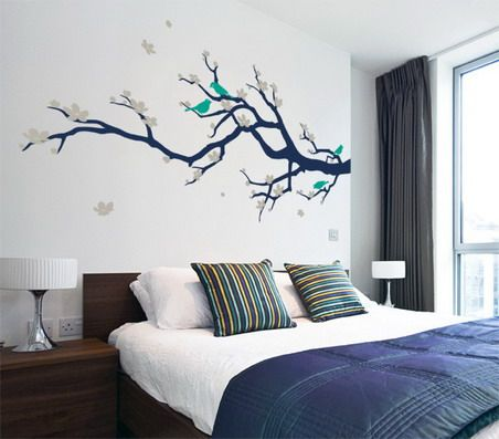 Beautiful Japanese Tree and Birds Wall Stickers Decals in Small